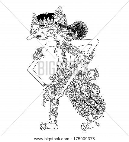 Adimanggala, a character of traditional puppet show, wayang kulit from java indonesia.