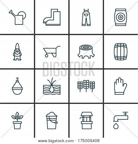 Set Of 16 Plant Icons. Includes Wheat, Spigot, Bucket And Other Symbols. Beautiful Design Elements.