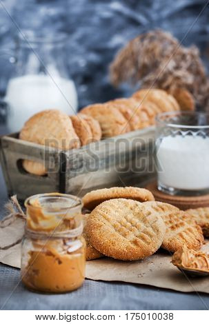 Homemade freshly baked peanut butter cookies on table
