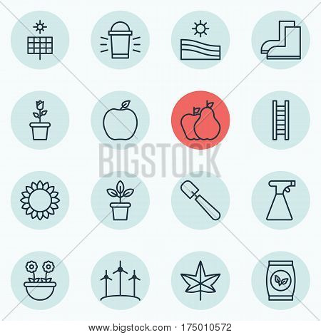 Set Of 16 Holticulture Icons. Includes Flowerpot, Stairway, Meadow And Other Symbols. Beautiful Design Elements.