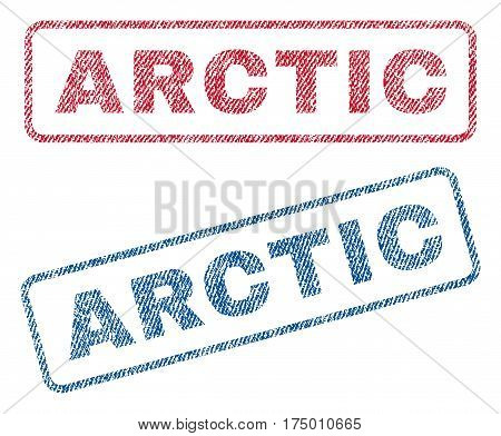 Arctic text textile seal stamp watermarks. Blue, red fabric vectorized texture. Vector tag inside rounded rectangular shape. Rubber sticker with fiber textile structure.