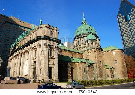 The exterior domes of The Cathedral-Basilica of Mary, Queen of the World. (French: Cathedrale Marie-Reine-du-Monde) in Montreal, Quebec, Canada.