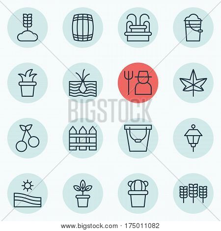 Set Of 16 Planting Icons. Includes Growing Plant, Cereal, Barrier And Other Symbols. Beautiful Design Elements.