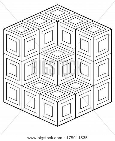 black and white coloring book style op art design
