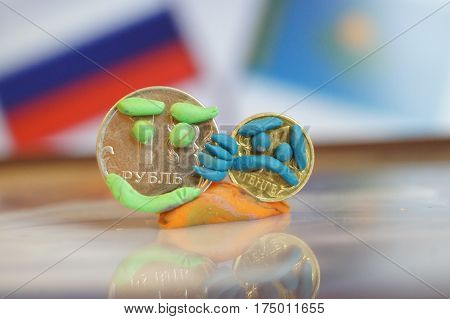 Russian Ruble and Kazakhstan Tenge Coins with smileys