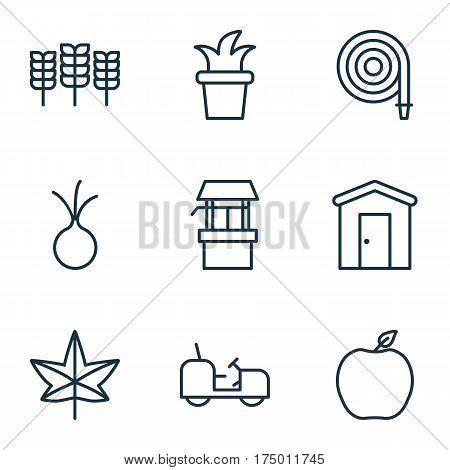 Set Of 9 Plant Icons. Includes Agrimotor, Bush Pot, Garlic And Other Symbols. Beautiful Design Elements.