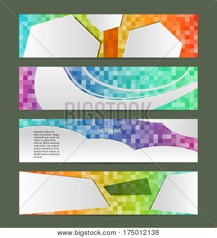 Set Banner Headline Horizontal Layout Mosaic Background01