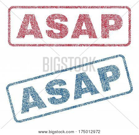 Asap text textile seal stamp watermarks. Blue, red fabric vectorized texture. Vector caption inside rounded rectangular shape. Rubber sticker with fiber textile structure.