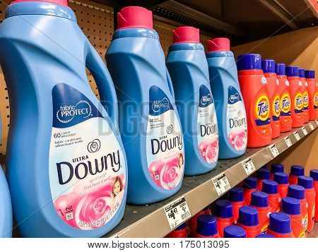New York March 6 2017: Bottles of fabric softener stand on a shelf in a Home Depot store.