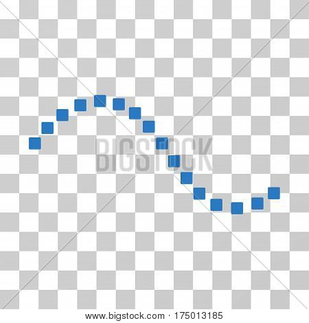 Dotted Function Line icon. Vector illustration style is flat iconic symbol, smooth blue color, transparent background. Designed for web and software interfaces.
