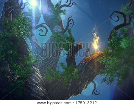 3D illustration of a fairytale forest in a idyllic landscape at night in the moonlight. poster