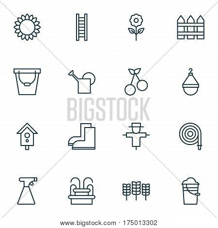 Set Of 16 Gardening Icons. Includes Decorative Plant, Barrier, Sprinkler And Other Symbols. Beautiful Design Elements.