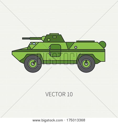 Line flat color vector icon infantry assault armored army truck. Military amphibious vehicle. Cartoon vintage style. Soldiers. Gun turret. Tractor unit. Tow. Simple. Illustration, element for design. poster