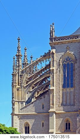 Front view on buttress on church of Saint Barbara a Roman Catholic church in the Gothic Style at Kutna Hora Czech Republic Europe