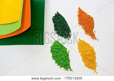 Polymeric dye. Plastic pellets. Colorant for plastics. Pigment in the granules.  Polymer beads