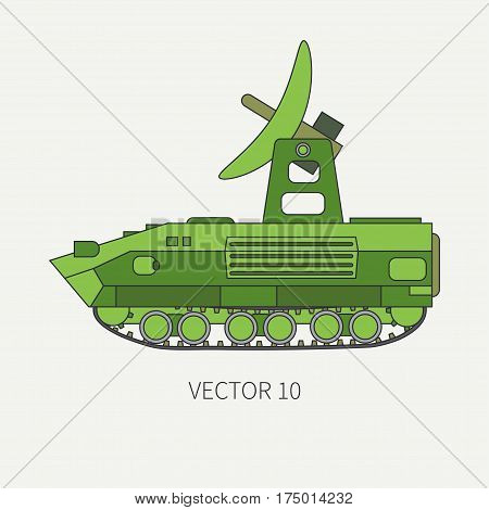 Line flat color vector icon intelligence service armored army truck. Military vehicle. Cartoon vintage style. Soldiers. Telemetry. Tank. Tractor unit. Tow. Simple. Illustration and element for design.