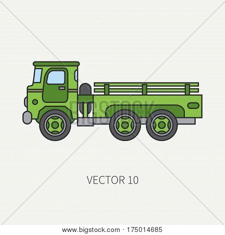 Line flat color vector icon service staff open body army truck. Military vehicle. Cartoon vintage style. Cargo transportation. Tractor unit. Tow auto. Simple. Illustration and element for design. Road