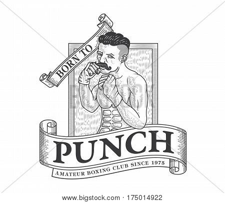 Vector illustration of boxer ready to punch