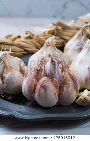 Dried French garlic. Red garlic. Violet garlic.Garlic background. garlic bulbs on white marble.