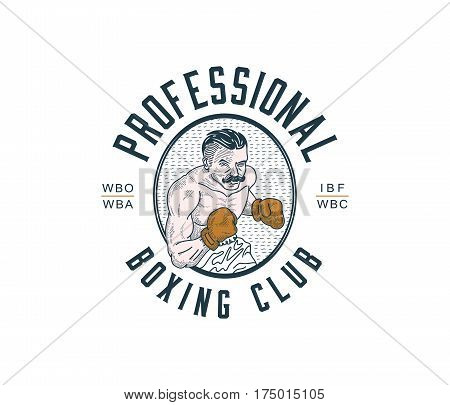 Colored vector illustration of boxer with gloves