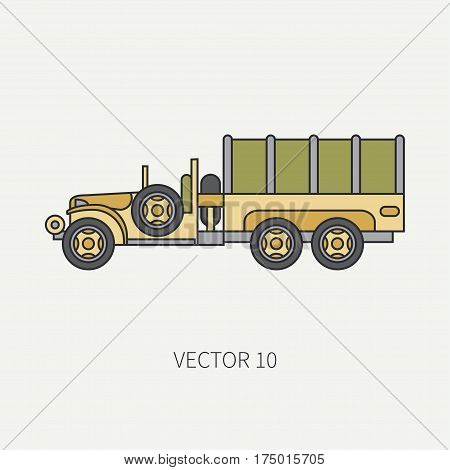 Line flat color vector icon tarpaulin wagon army truck. Military vehicle. Cartoon vintage style. Cargo and soldiers transportation. Tractor unit. Tow auto. Simple. Illustration and element for design.