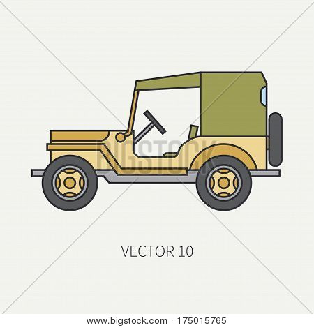 Line flat color vector icon service staff tarpaulin body army car. Military vehicle. Cartoon vintage style. Cargo transportation. Tractor unit. Tow auto. Simple. Illustration and element for design.