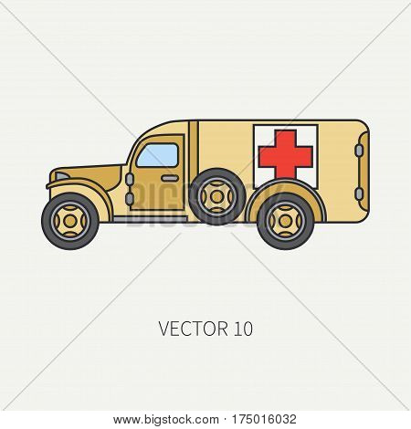 Line flat color vector icon ambulance army van. Military vehicle. Cartoon vintage style. Soldiers evacuation. Field medicine. Tractor unit. Tow auto. Simple. Illustration and element for design. Road.