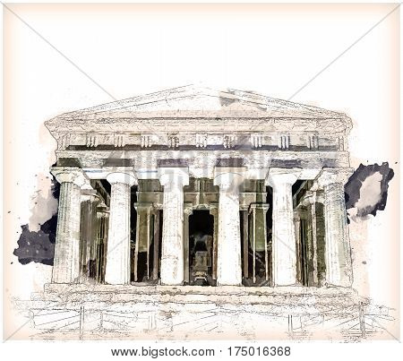 Antique greek temple of Concordia in the Valley of Temples, Agrigento, Sicily, Italy, at night. Modern Painting. Brushed artwork based on photo. Background texture.