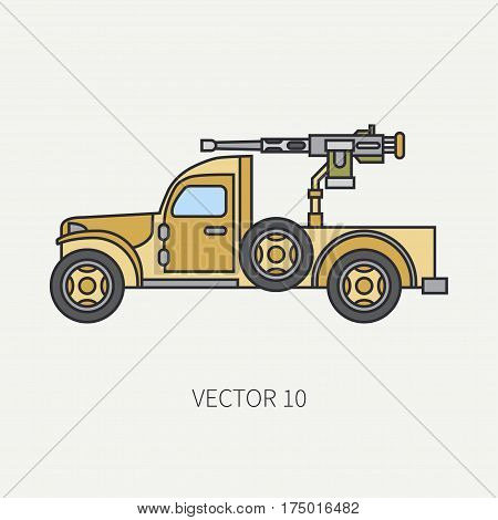 Line flat color vector icon armed open body army pickup. Military vehicle. Cartoon vintage style. Machine gun. Mobile weapon emplacement. Tractor unit. Tow auto. Illustration and element for design.