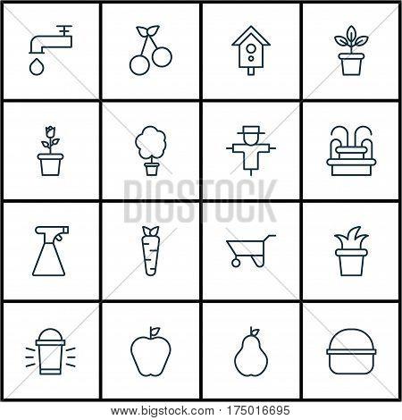 Set Of 16 Gardening Icons. Includes Sprinkler, Birdhouse, Taste Apple And Other Symbols. Beautiful Design Elements.