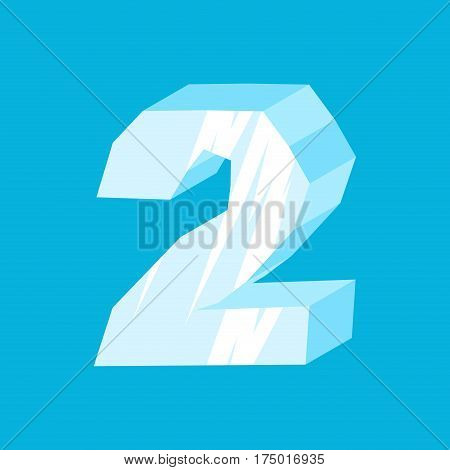 Number 2 Ice. Icicles Font Two. Frozen Alphabet Symbol. Iceberg Abc Sign