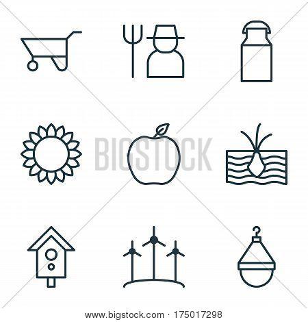 Set Of 9 Farm Icons. Includes Nectarine, Birdhouse, Helianthus And Other Symbols. Beautiful Design Elements.