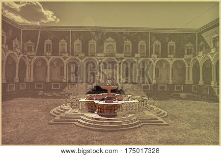 Cloister of the Benedictine Monastery of San Nicolo l'Arena in Catania, Sicily, Italy, - a jewel of the late Sicilian Baroque style. Modern Painting. Brushed artwork based on photo. Background texture