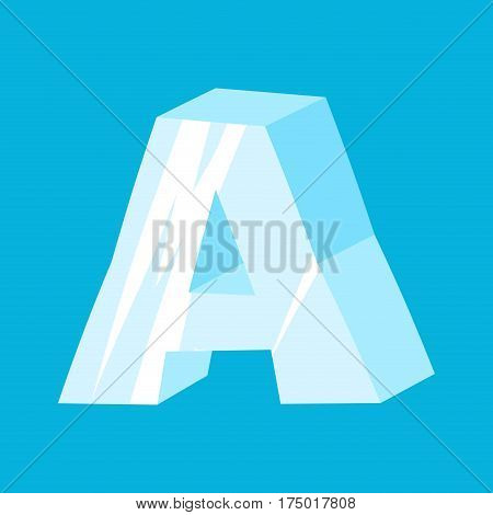 Letter A Ice Font. Icicles Alphabet. Freeze Lettering. Iceberg Abc Sign