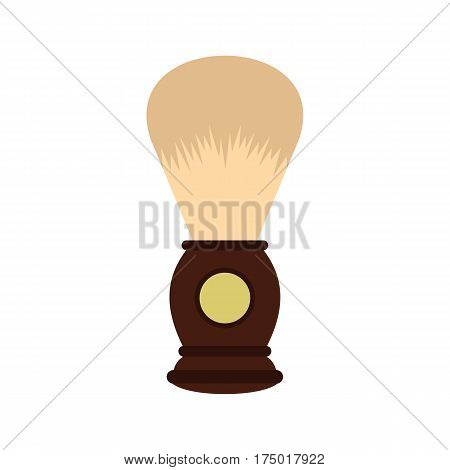 Wooden shaving brush icon in flat style isolated on white background vector illustration