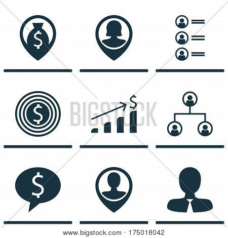 Set Of 9 Management Icons. Includes Employee Location, Business Goal, Pin Employee And Other Symbols. Beautiful Design Elements.