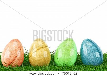 Easter eggs on fresh green grass isolated on white background. 3d rendering