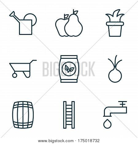Set Of 9 Plant Icons. Includes Stairway, Wheelbarrow, Spigot And Other Symbols. Beautiful Design Elements.