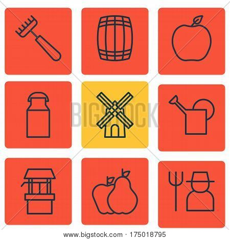 Set Of 9 Farm Icons. Includes Water Source, Jug, Bailer And Other Symbols. Beautiful Design Elements.