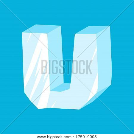 Letter U Ice Font. Icicles Alphabet. Freeze Lettering. Iceberg Abc Sign
