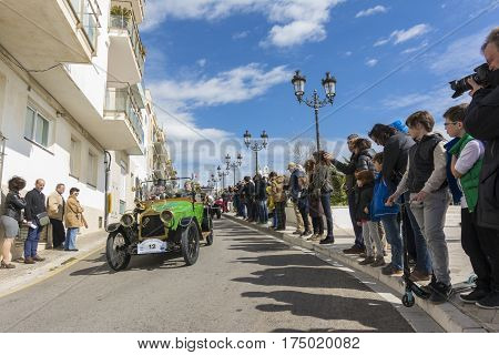 Sitges, Spain - March 5 2017: International Barcelona-Sitges Vintage Car Rally.This rallye is held every year since 1959.Only cars produced between 1900 and 1924 can participate in the event.