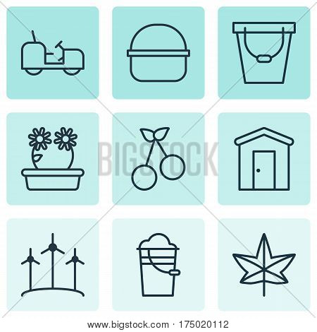 Set Of 9 Gardening Icons. Includes Windmill, Agrimotor, Package And Other Symbols. Beautiful Design Elements.