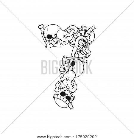 Number 7 Skeleton. Bones Font Seven. Anatomy Of An Alphabet Symbol. Dead Abc Sign