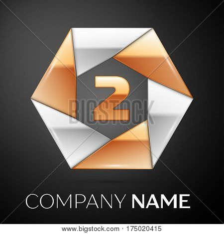 Number two vector logo symbol in the colorful hexagon on black background. Vector template for your design