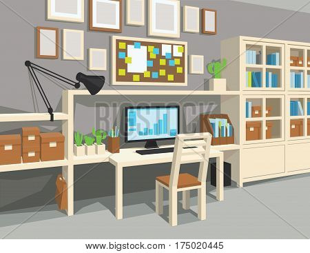 Interior of workroom in cartoon style. Perspective. Workplace with desk, PC, board, notes, frames, cupboard, books, boxes, lamp, chair gray walls and plants Scene for artworks and illustrations
