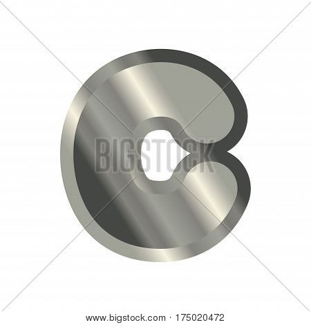 Letter C Steel Font. Metal Alphabet Sign. Iron Abc Symbol. Chromium Lettering. Silver Typography
