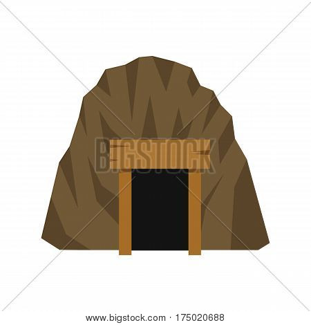 Mine in mountain icon in flat style isolated on white background vector illustration