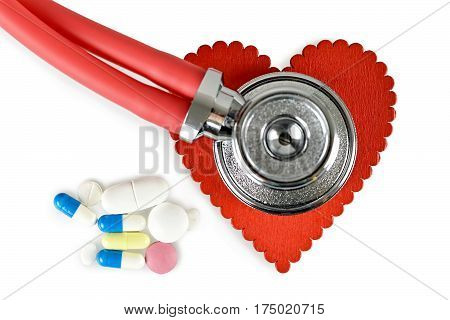 Medical concept: Heart checkup with red stethoscope