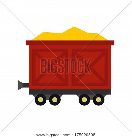 Cart on wheels with gold icon in flat style isolated on white background vector illustration