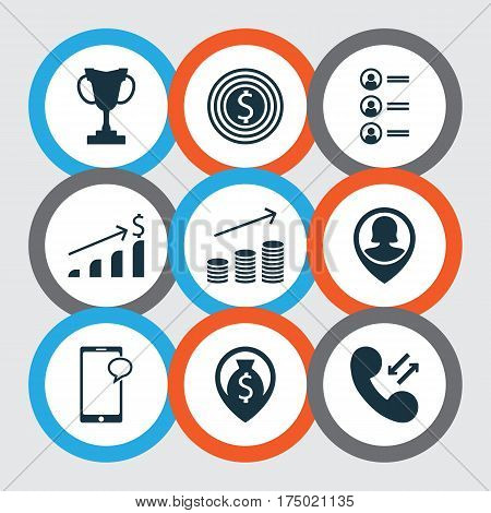 Set Of 9 Management Icons. Includes Pin Employee, Cellular Data, Money Navigation And Other Symbols. Beautiful Design Elements.